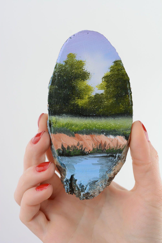 Homemade fridge magnet On the River photo 3