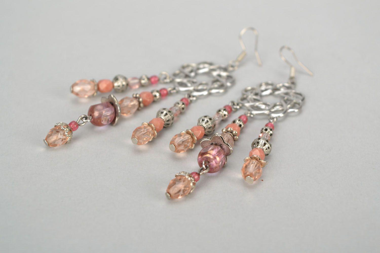 Long metal and glass earrings photo 5