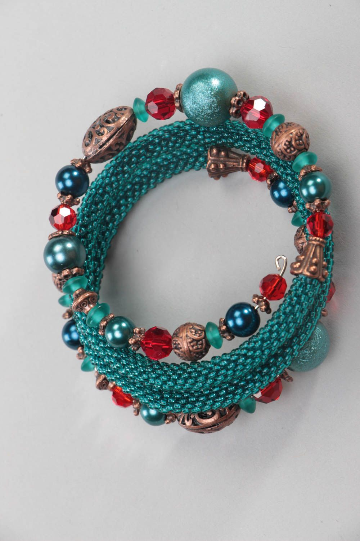 Multirow handmade bracelet unusual beaded accessory beautiful wrist jewelry photo 2