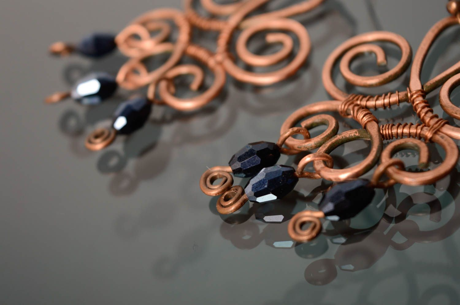 Massive copper earrings made using wire wrap technique photo 3