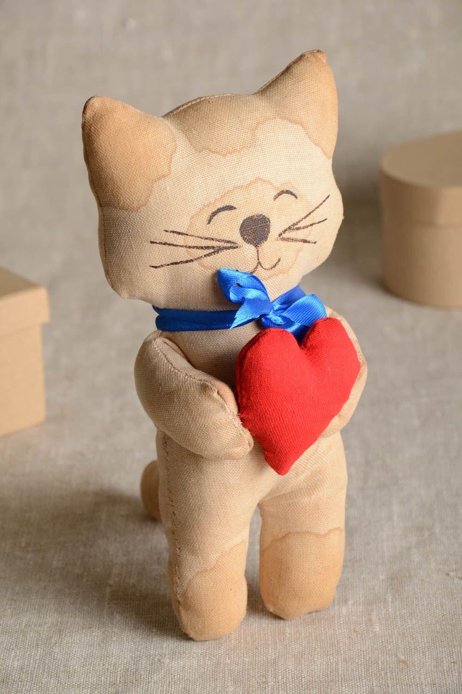 Unusual handmade fabric soft toy textile stuffed toy rag doll home design photo 1