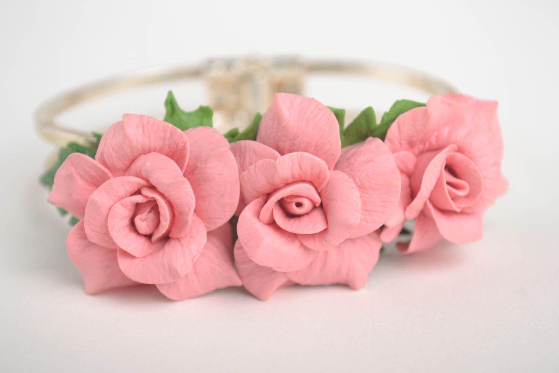 Браслет ручной работы украшение из холодного фарфора браслет с цветами розовый фото 3