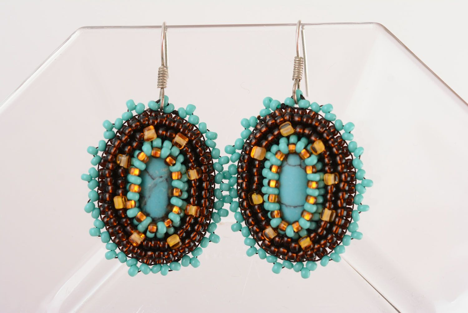 Earrings with charms Chocolate and Turquoise photo 1