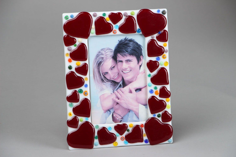 Fused glass photo frame Hearts photo 1