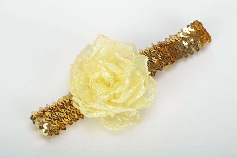 Handgemachtes Haarband mit Blume Sonne in Gold foto 1