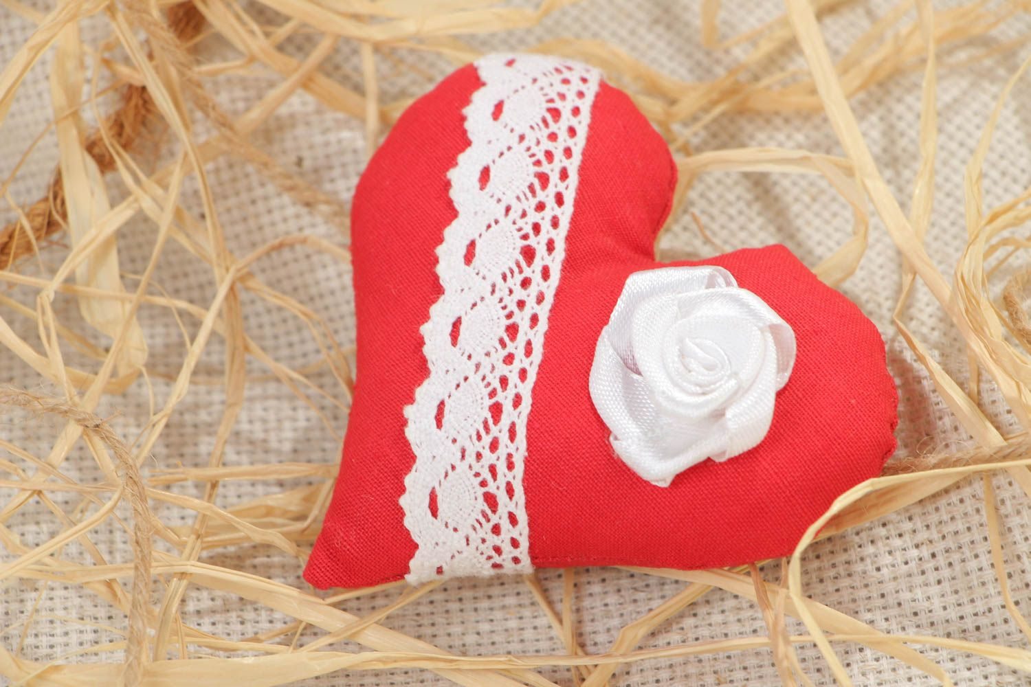 Handmade decorative fridge magnet with soft red cotton fabric heart with lace photo 1