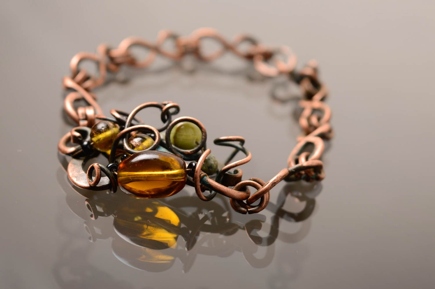 Wire wrap copper bracelet photo 1