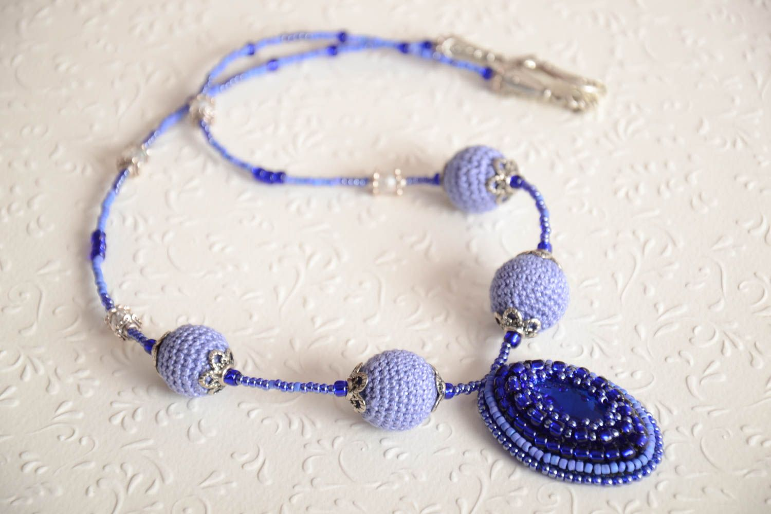 Beautiful necklace with charms handmade beaded accessory stylish cute necklace photo 1