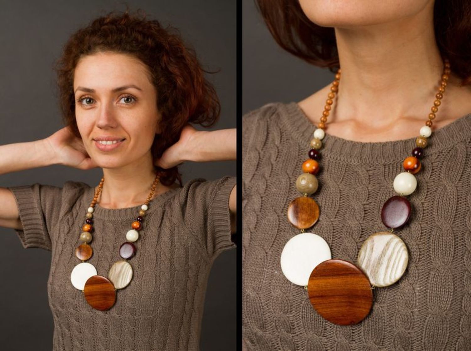 Handmade wooden necklace photo 2