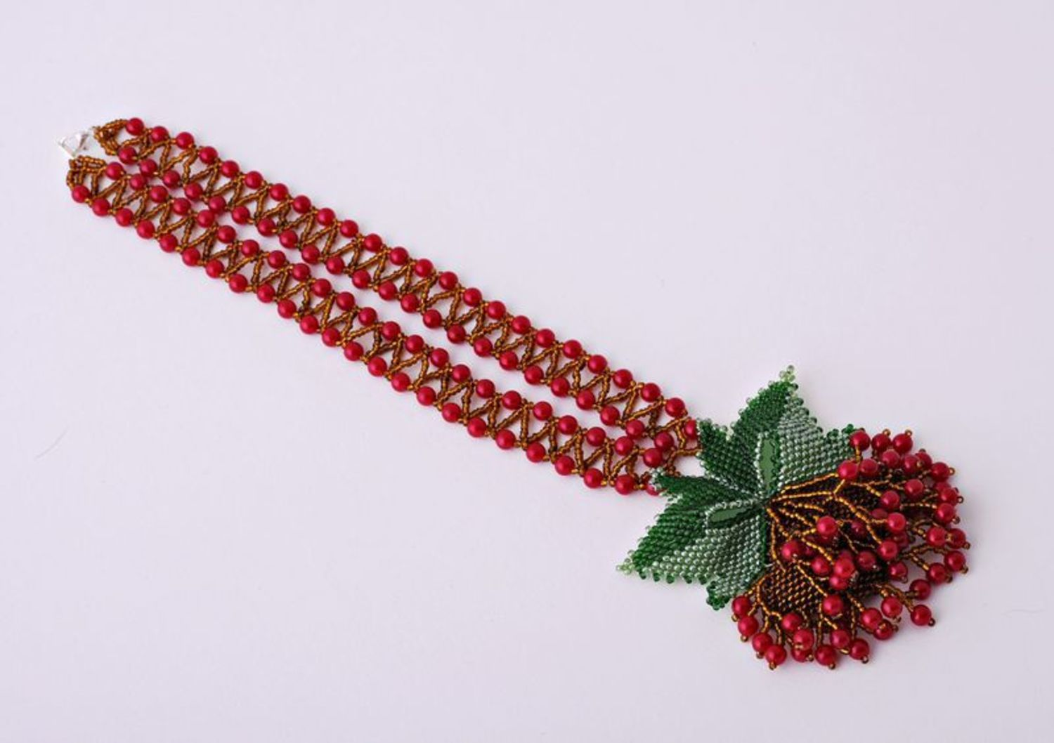 Beaded Necklace Guelder-Rose photo 5