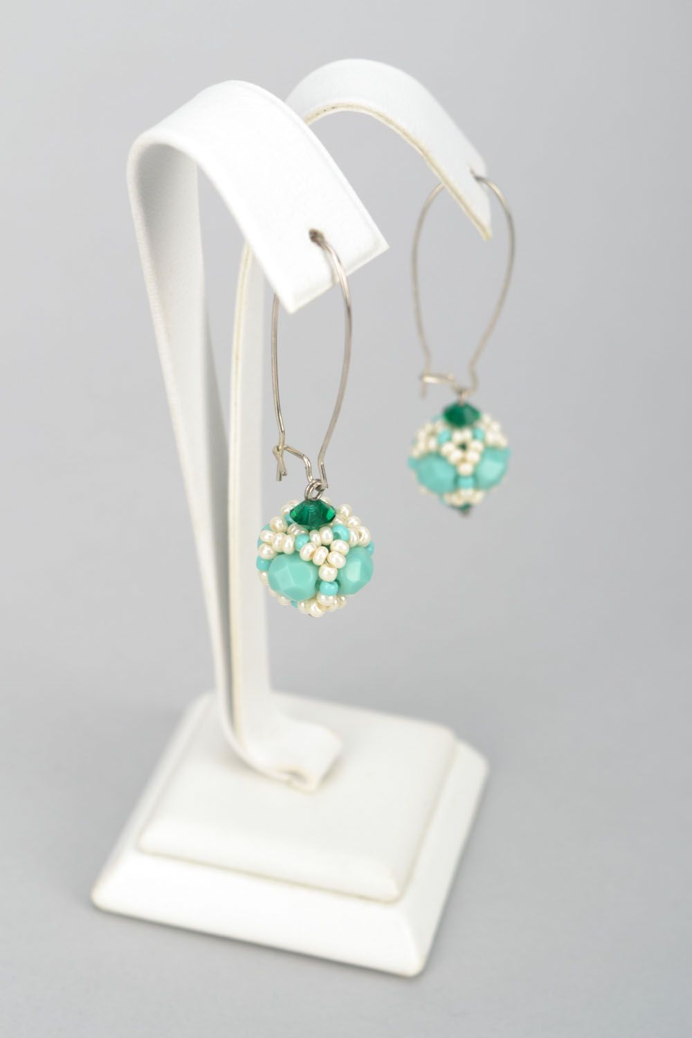 Earrings with Czech beads and glass photo 1
