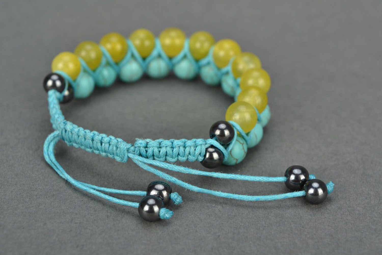 Handmade bracelet with turquoise and onyx photo 4