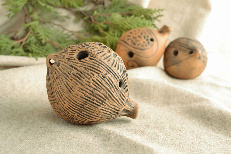 Handmade clay penny whistle photo 5