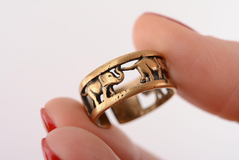 Bronze ring Elephants photo 4