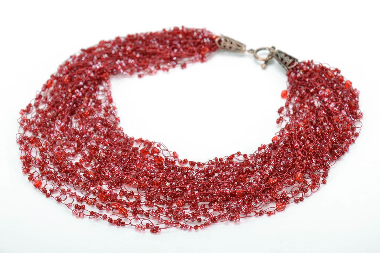 Collier rouge en perles de rocailles fait main photo 3