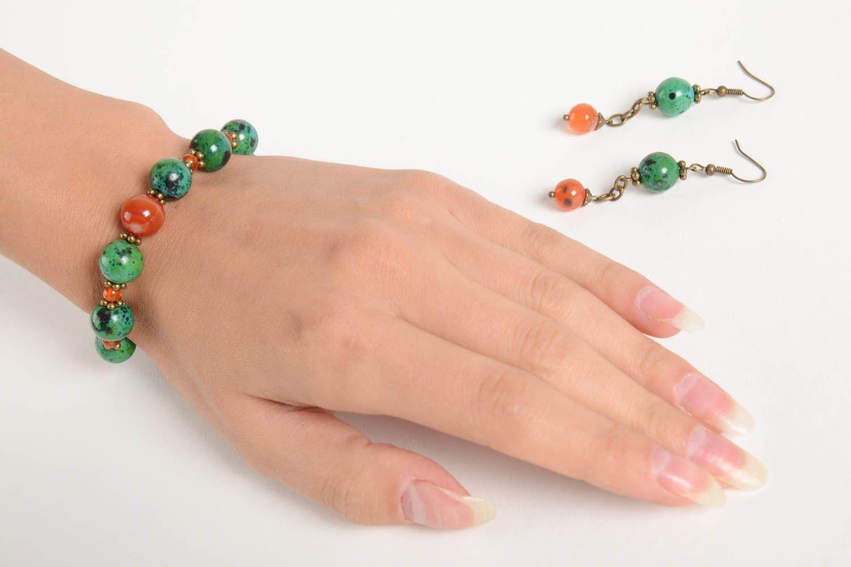 Handmade female wrist bracelet elegant designer earrings elite jewelry set photo 2