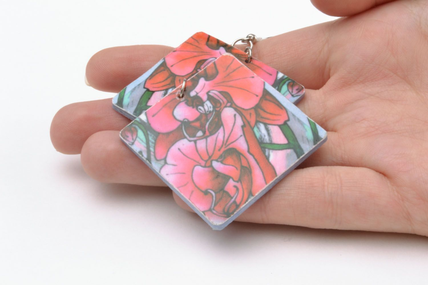 Colourful earrings made of polymer clay photo 2