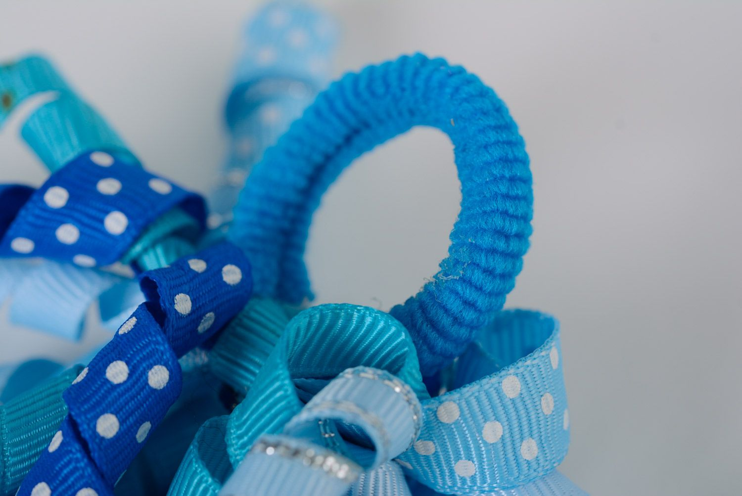 Set of handmade ribbon flower scrunchies of blue color for women and children 2 items photo 3
