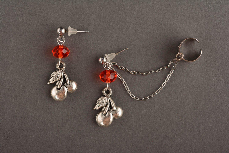 Metal cuff earrings Red Cherries photo 2