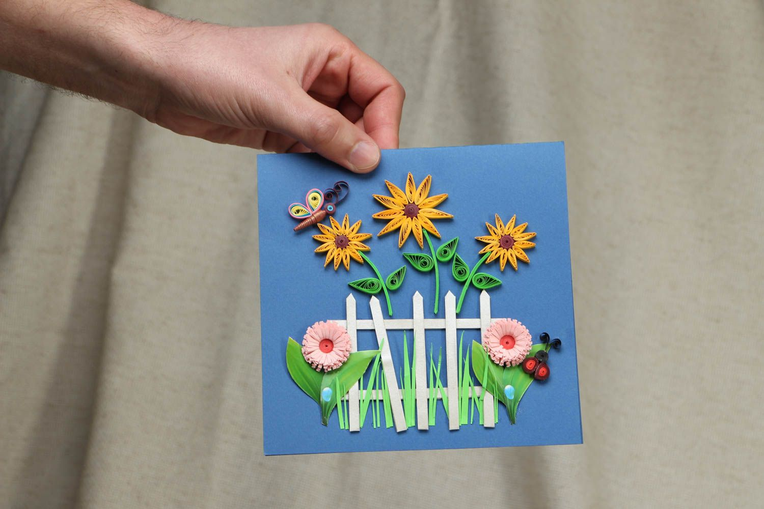 Handmade quilling greeting card with flowers photo 4