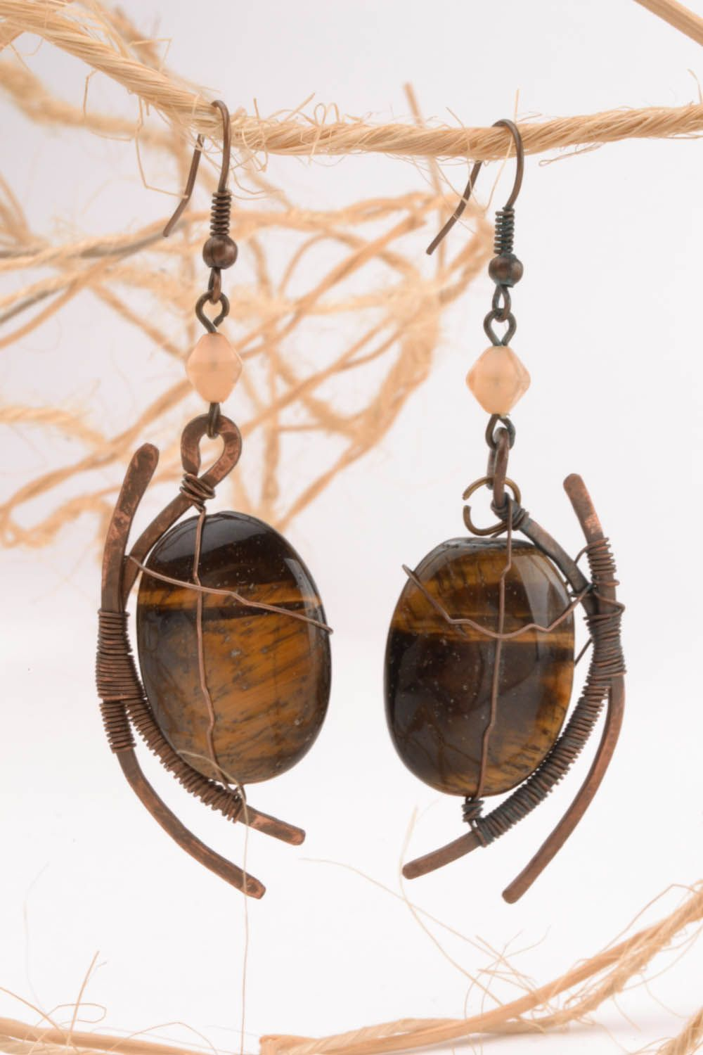 Copper earrings with tiger's eye stone photo 5