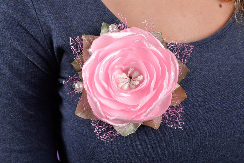 Pink satin brooch photo 5
