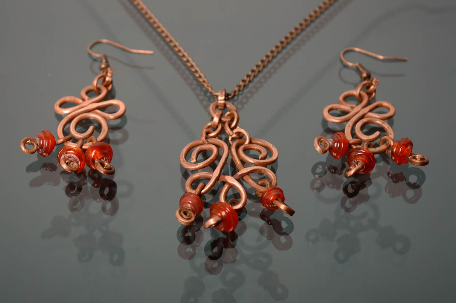 Wire wrap and lampwork jewelry set Autumn Berries photo 2