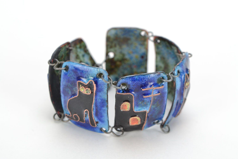 Kupfer Armband mit Emaille Nacht foto 4