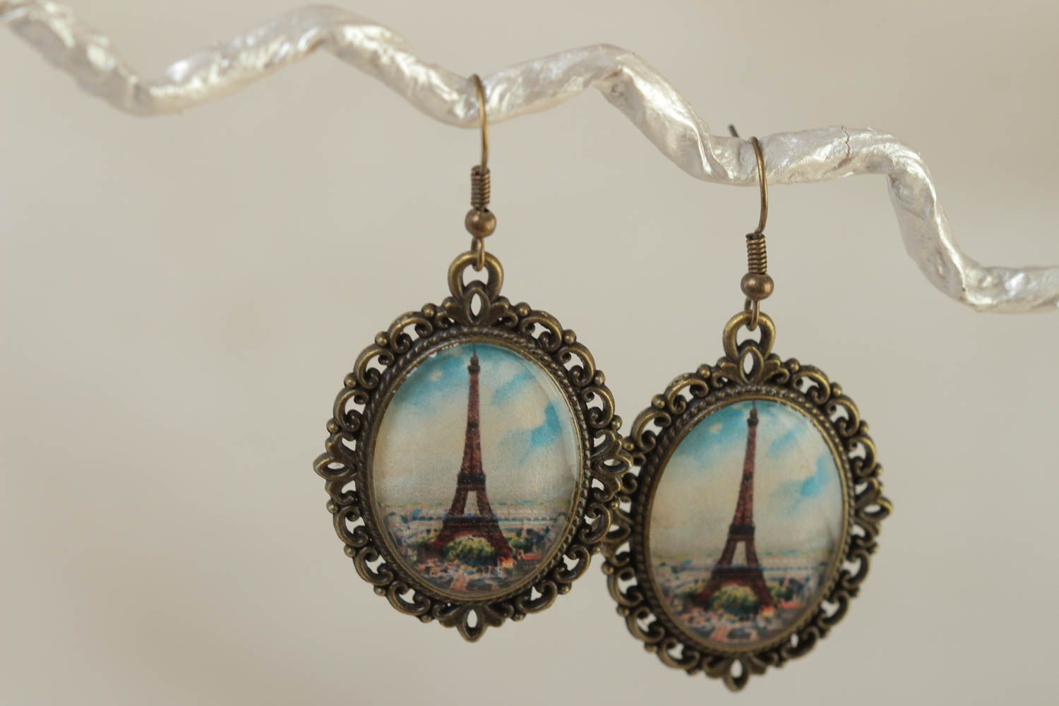 Handmade women's earrings with glass glaze oval vintage stylish accessory photo 1