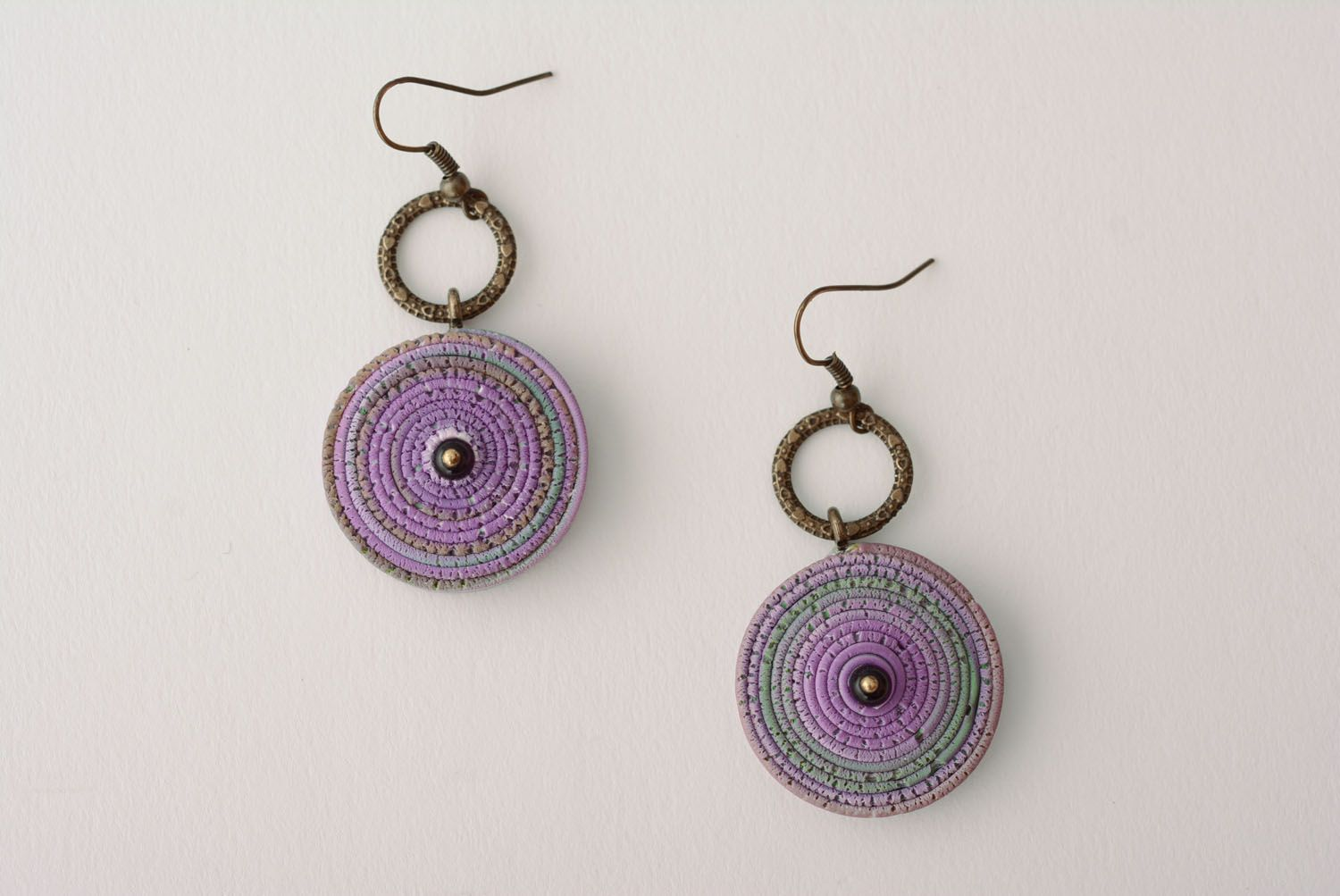 Polymer clay earrings Violet Smog photo 1