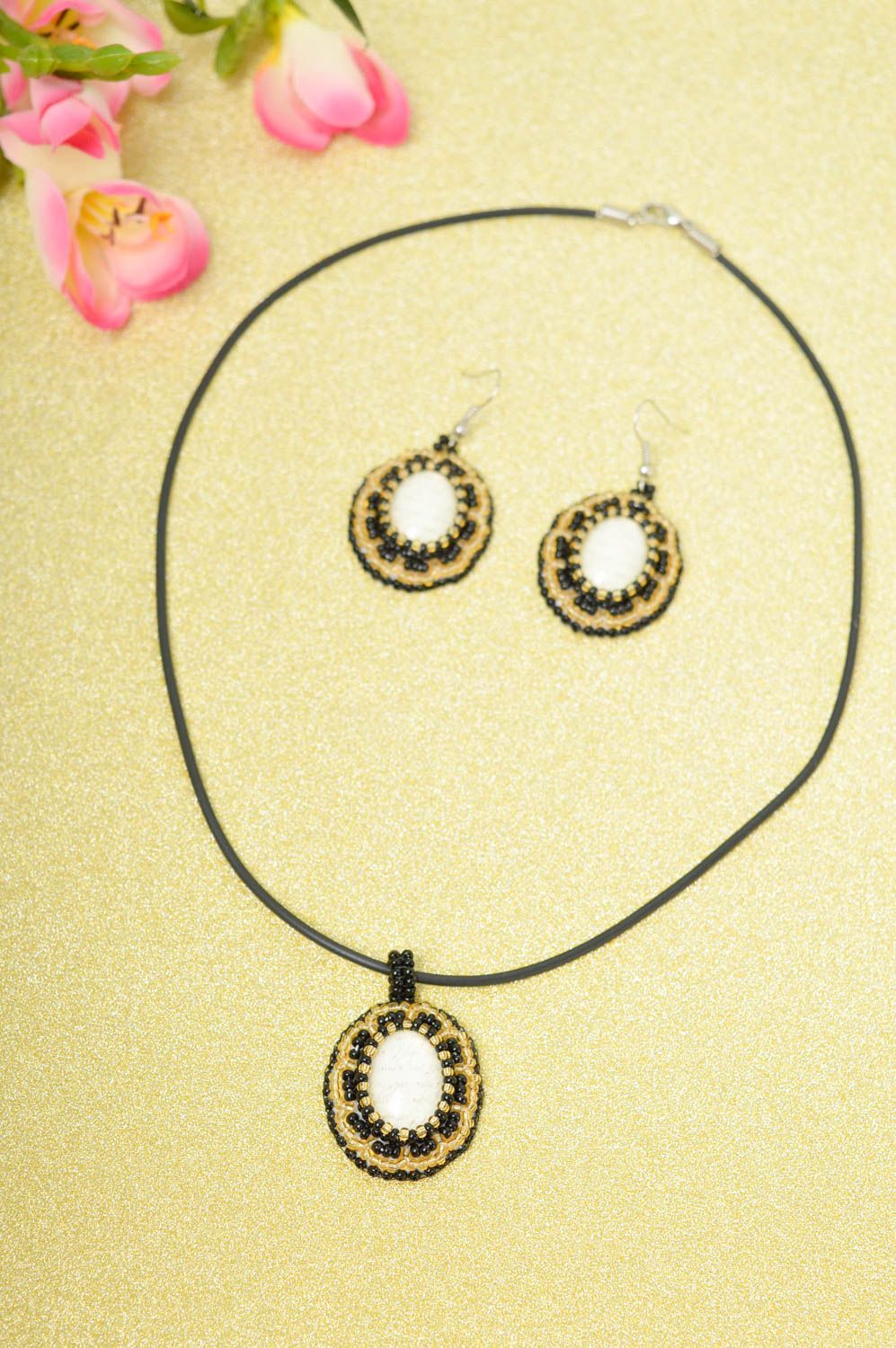 Beautiful handmade cabochon earrings pendant necklace metal jewelry set photo 1