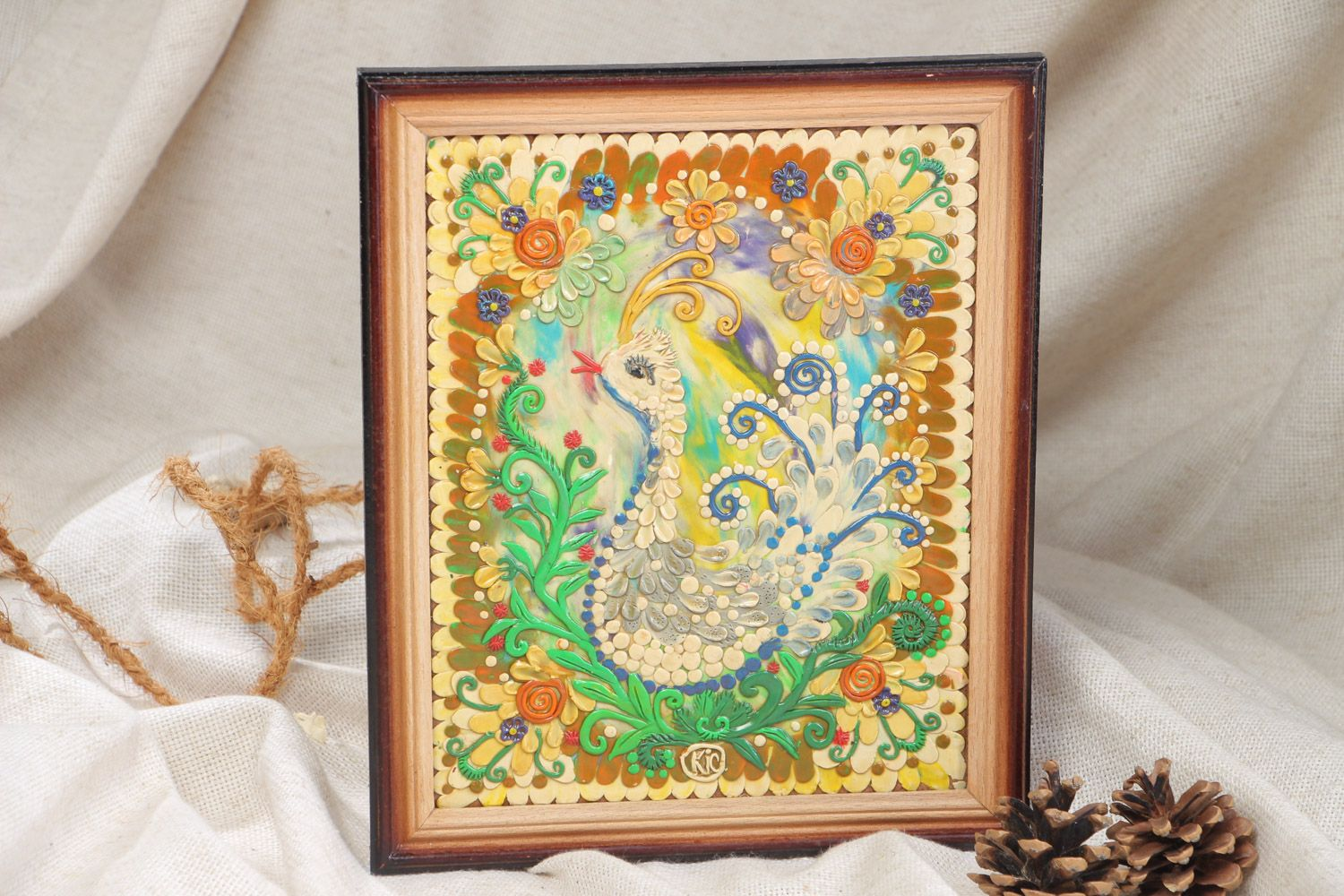 MADEHEART > Handmade decorative wall hanging panel painted with ...