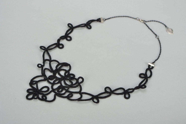 Handmade tatting needle necklace photo 2