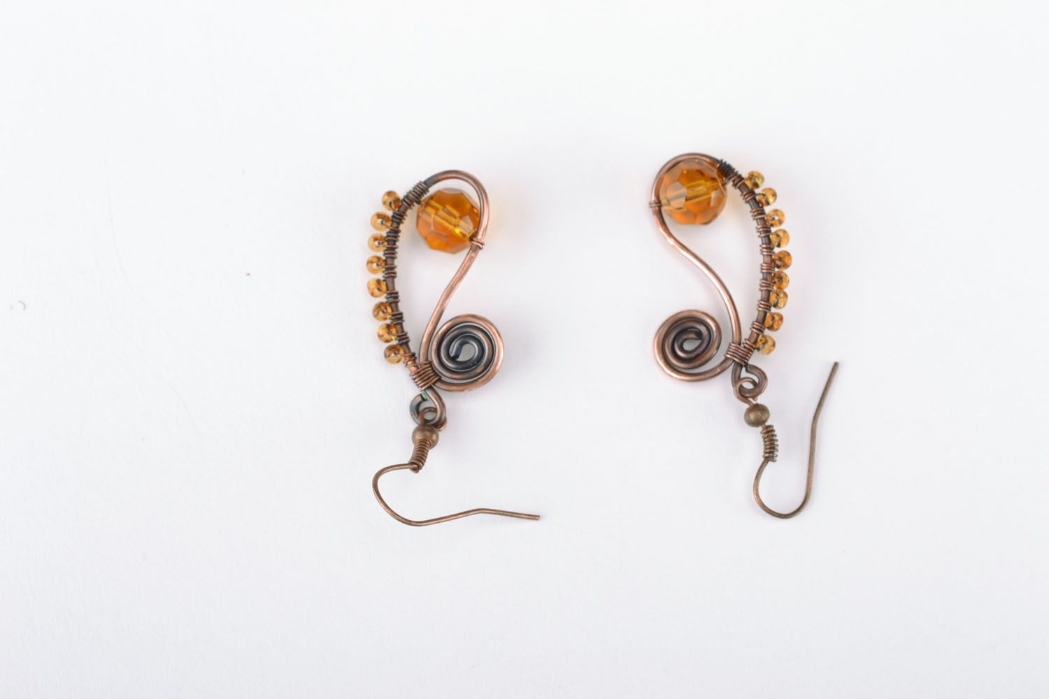 Earrings made of copper wire photo 1