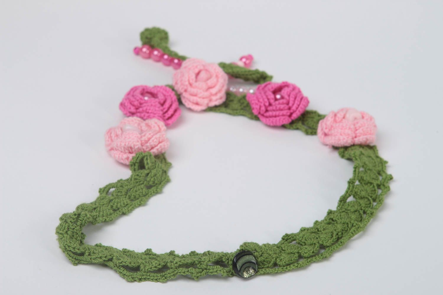 Handmade textile necklace crocheted flower necklace stylish accessory gift photo 4