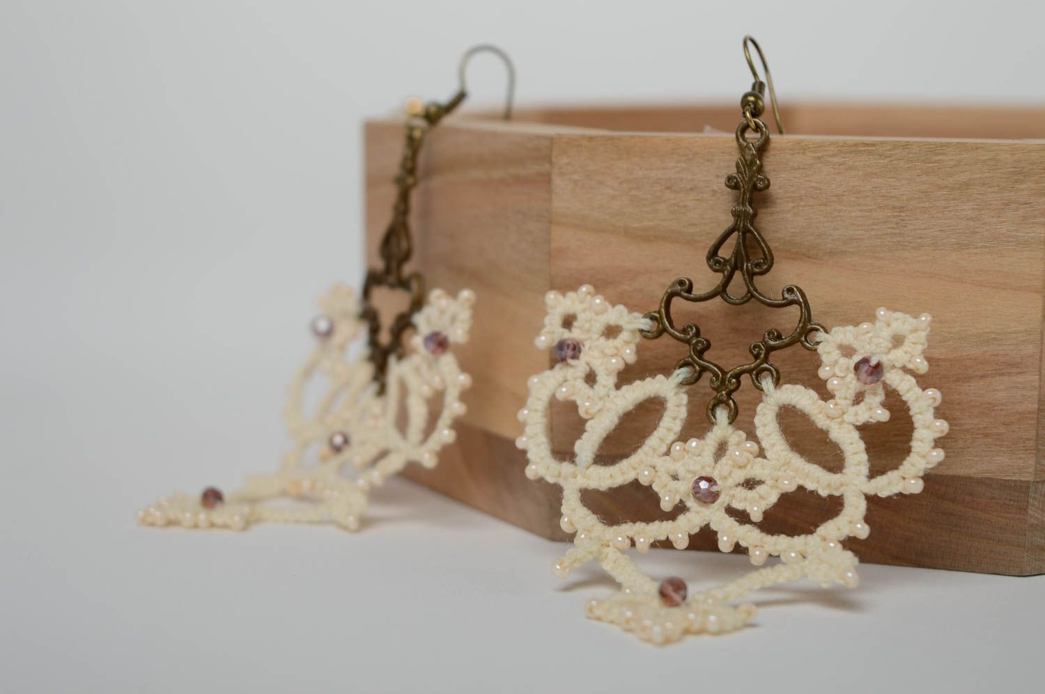 Lace tatting earrings Milky photo 1