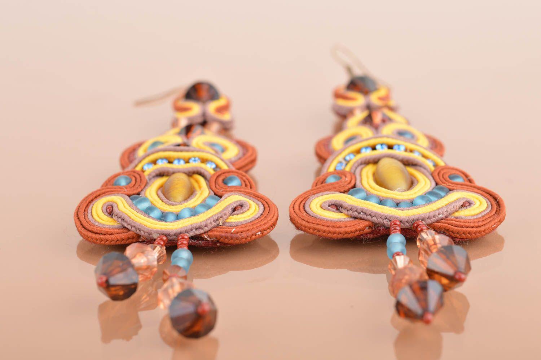 Handmade long dangle soutache earrings brown and yellow designer jewelry photo 5