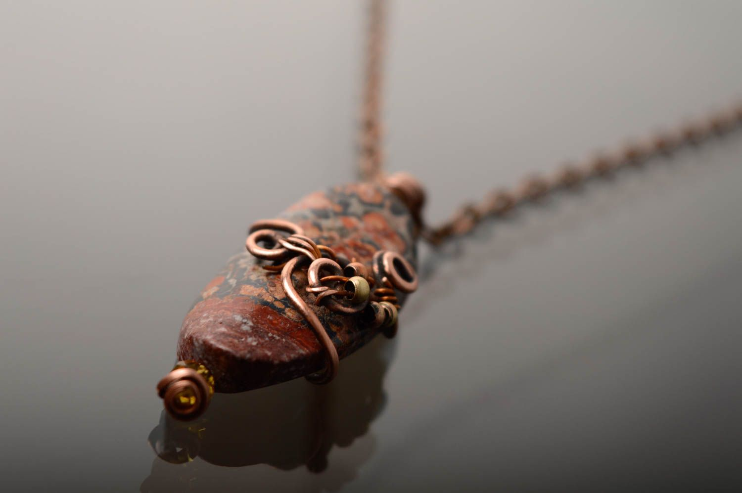 Metal pendant with natural stone photo 5