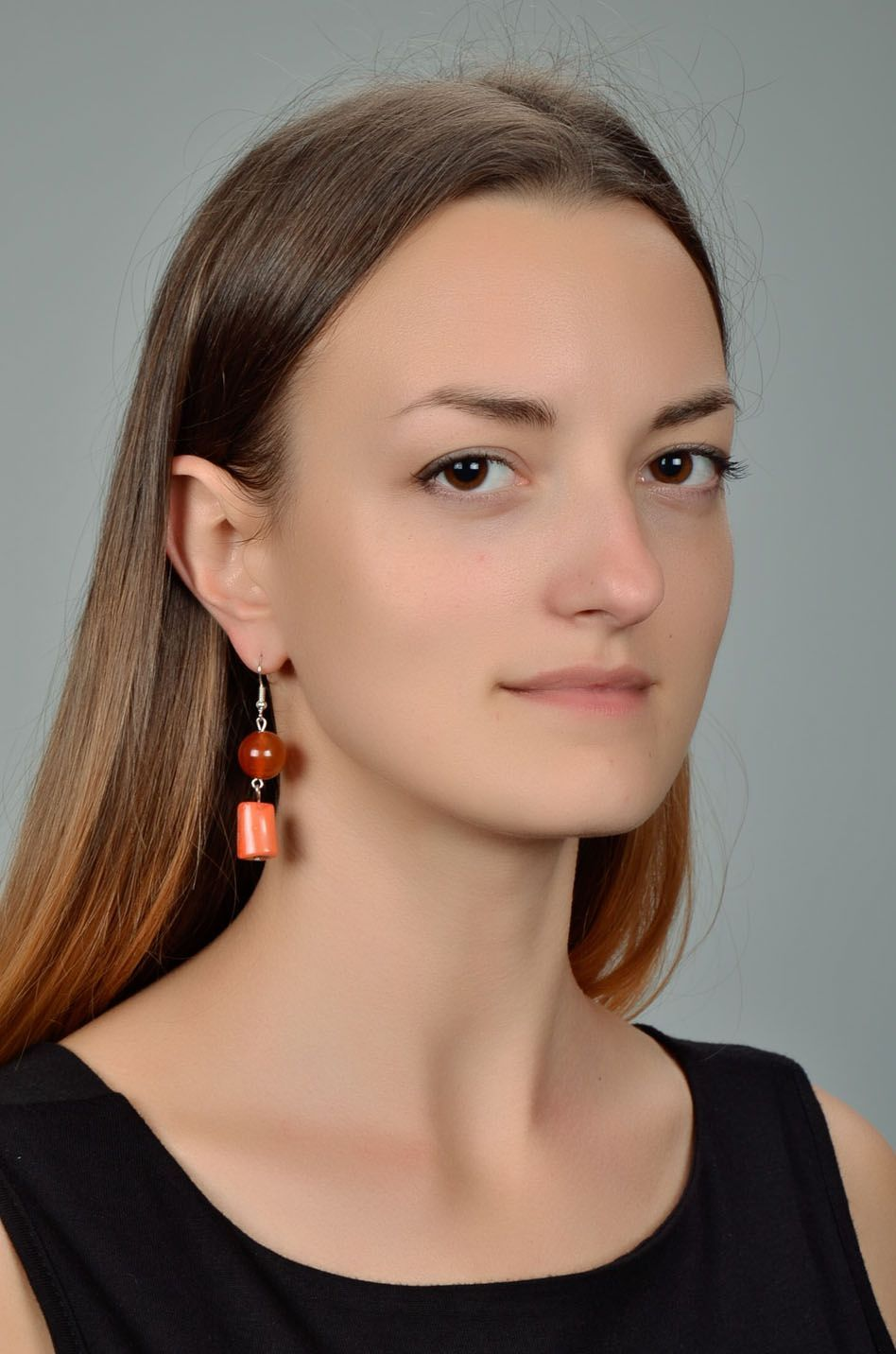 Earrings with coral and carnelian photo 1