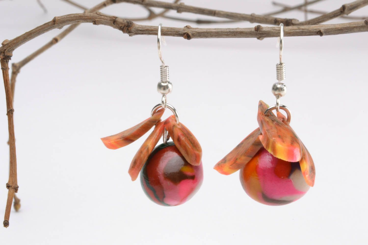 Colourful earrings with charms photo 1