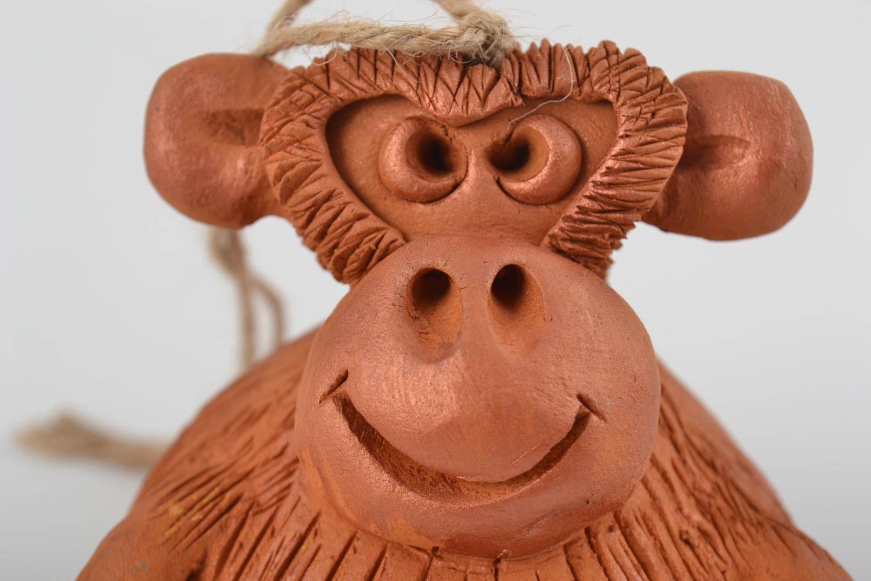 Unusual beautiful handmade designer molded clay bell Monkey photo 5