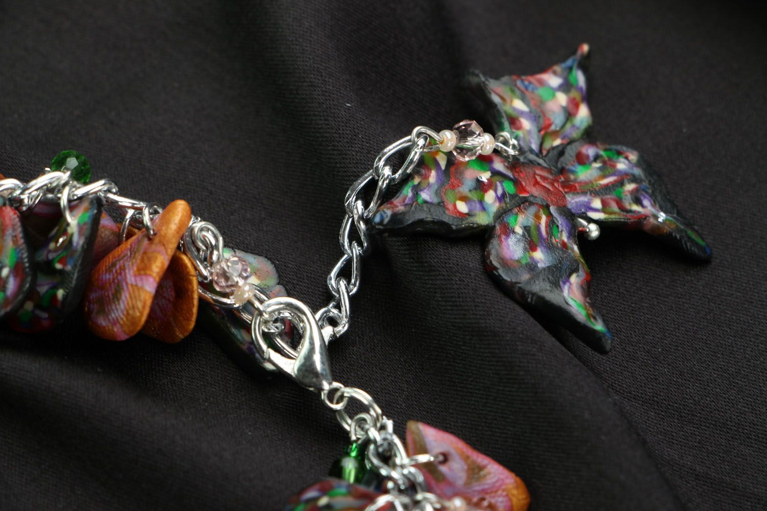 Bracelet with polymer clay charms photo 4