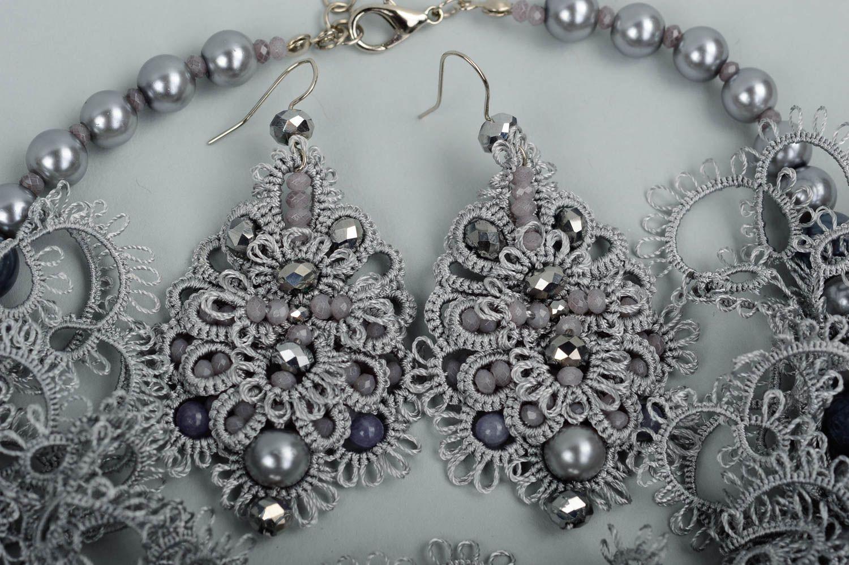 Handmade woven lace earrings woven earrings designer accessories for girls photo 3