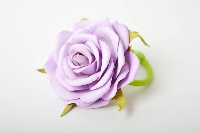 Blumen Haargummi handmade Schmuck Mädchen Haarschmuck lila Rose elegant schön foto 3