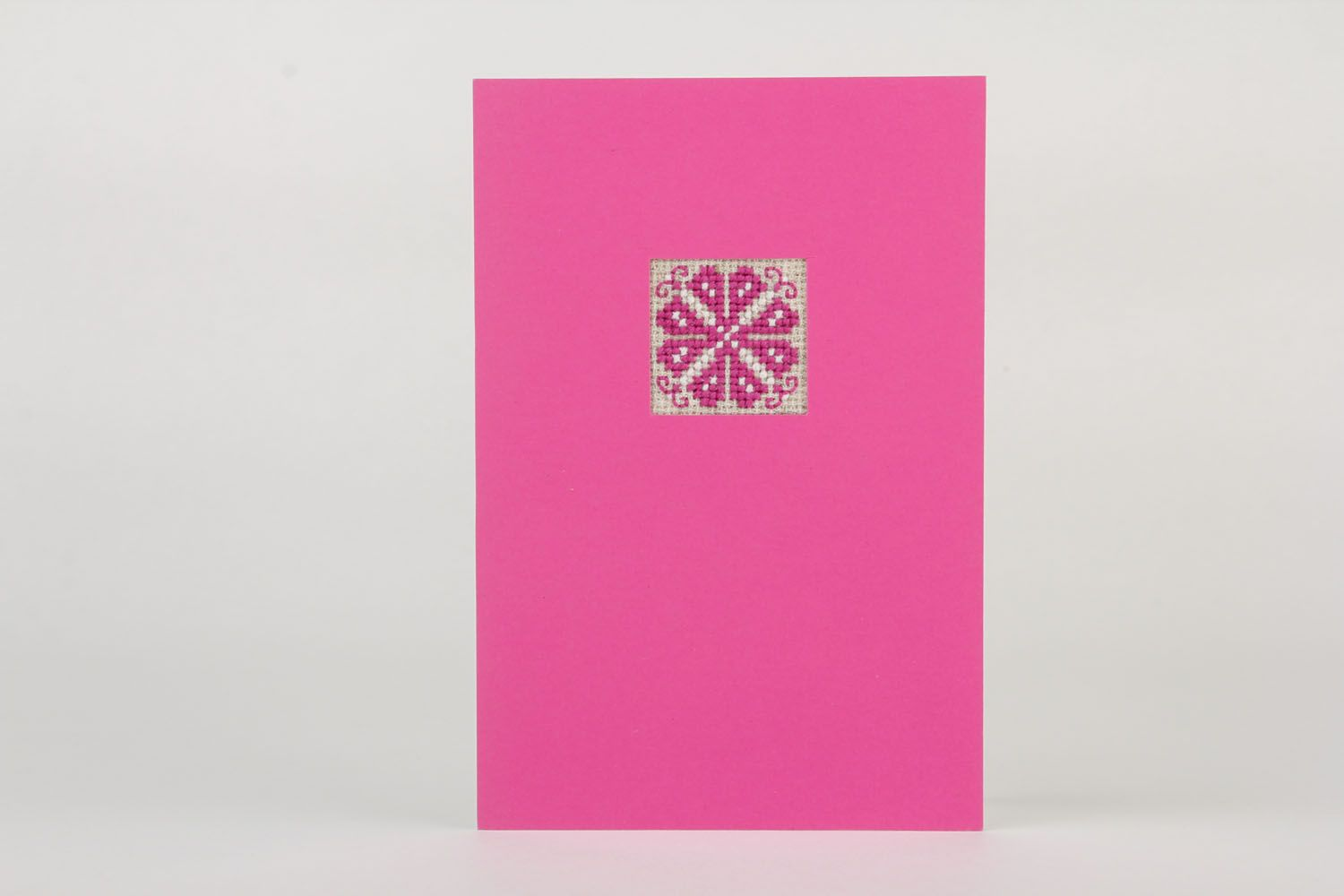 Pink greeting card with embroidery photo 2