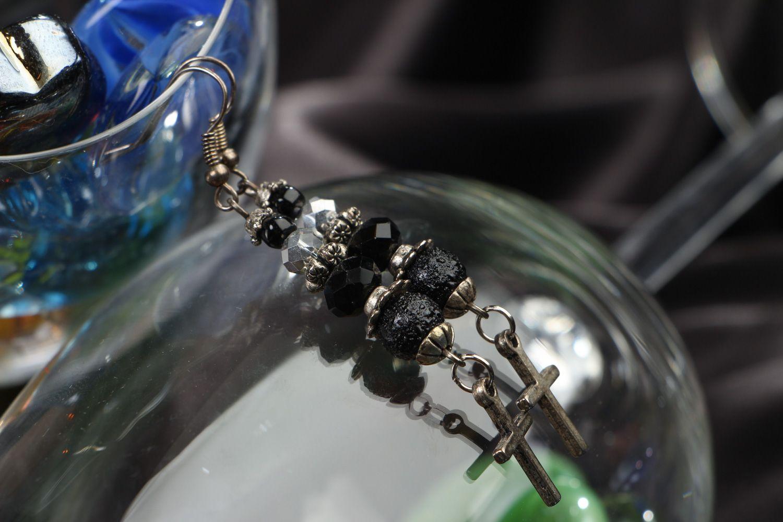 Handmade long earrings with black glass beads and cross-shaped metal charms  photo 5