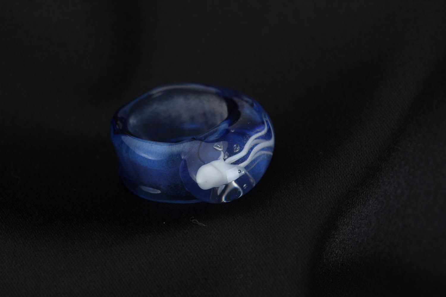 Blue glass ring Sea Drop photo 3