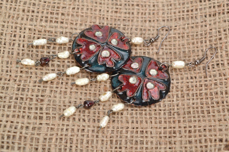 Copper earrings with enamel photo 1