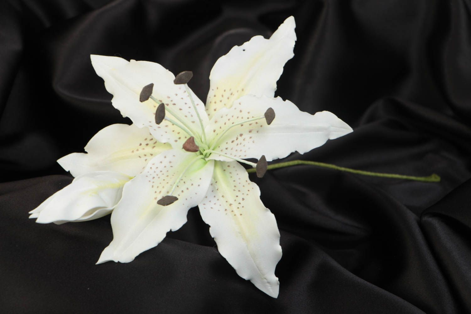 Handmade artificial foamiran flower white lily for interior decoration photo 1