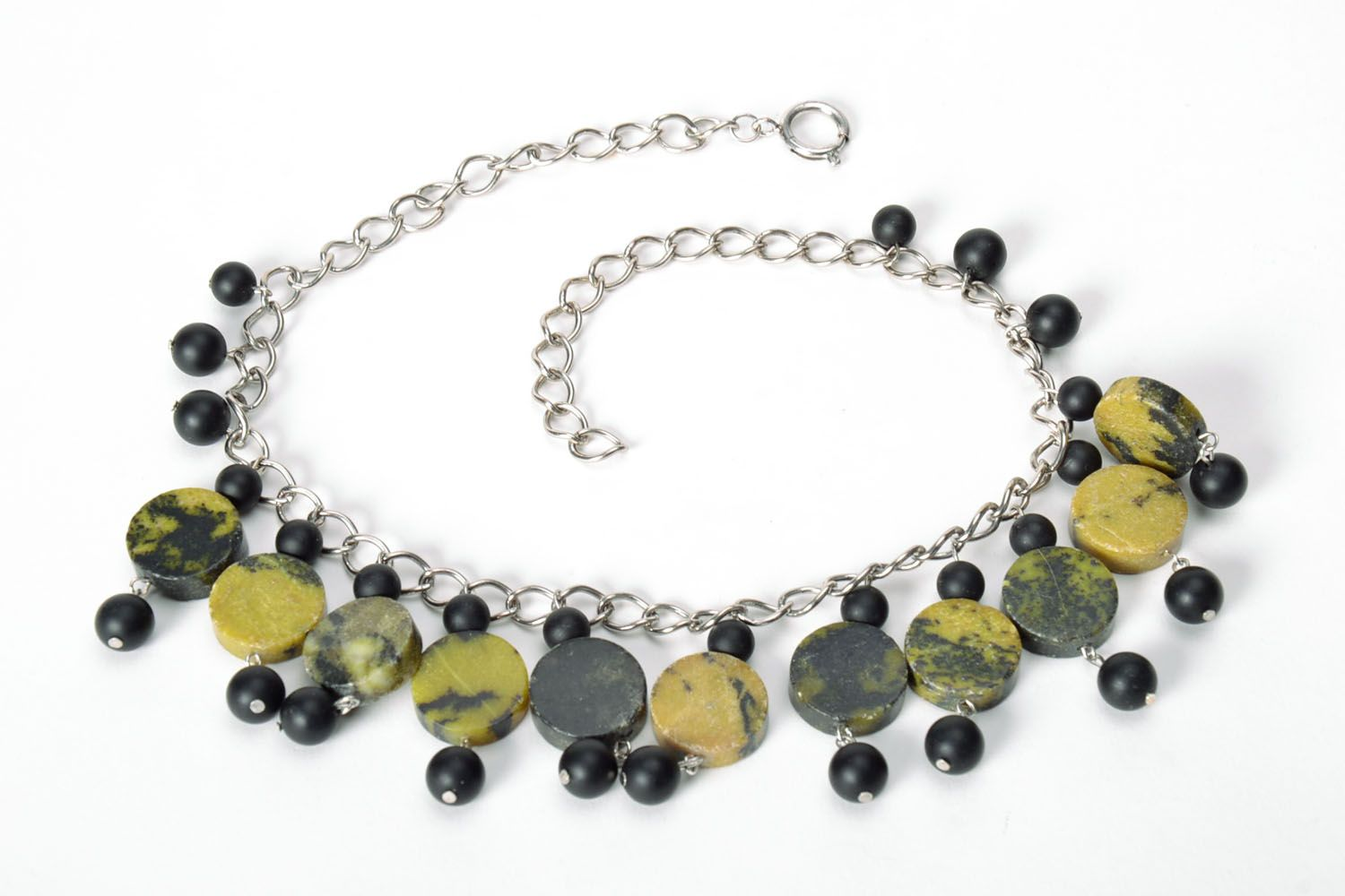 Dark green handmade necklace  photo 5